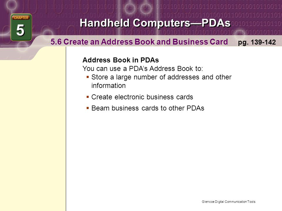 Glencoe Digital Communication Tools Handheld Computers—PDAs Chapter ...