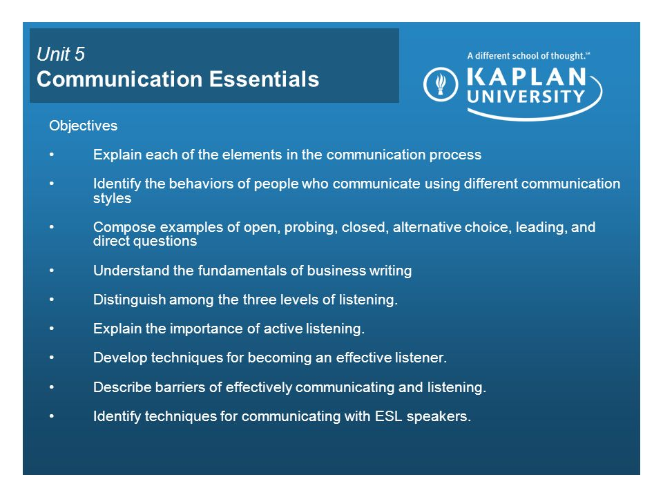 Unit 5 Communication Essentials Objectives Explain each of the elements in the communication process Identify the behaviors of people who communicate using different communication styles Compose examples of open, probing, closed, alternative choice, leading, and direct questions Understand the fundamentals of business writing Distinguish among the three levels of listening.