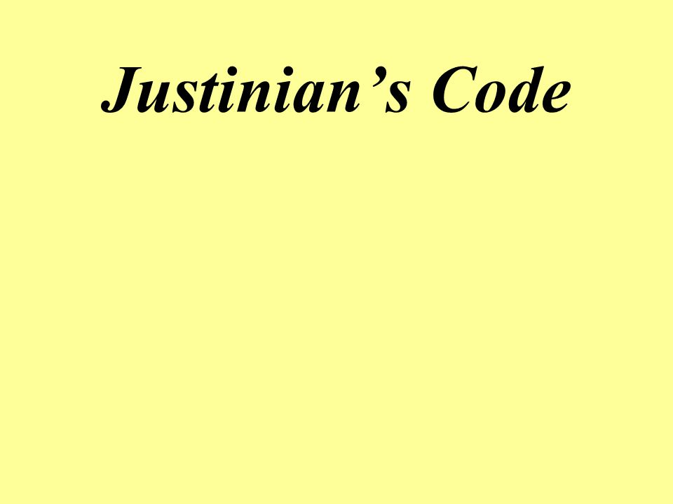 A law code created by the Byzantine Emperor Justinian about 530 CE.