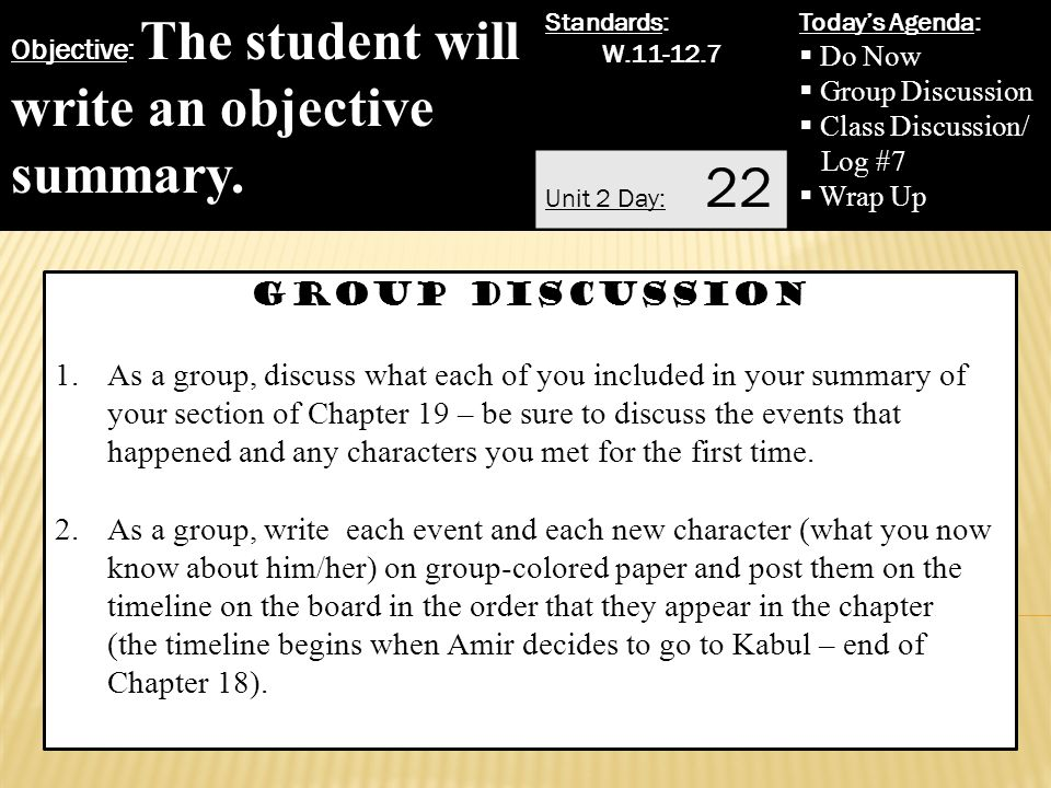 write an objective summary 2 group discussion - How Do You Write An Objective