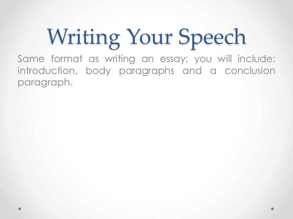 Essay Speech Format