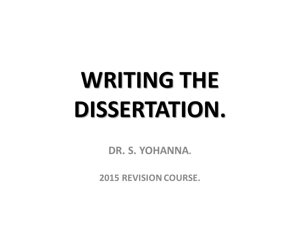 Dissertation writing course