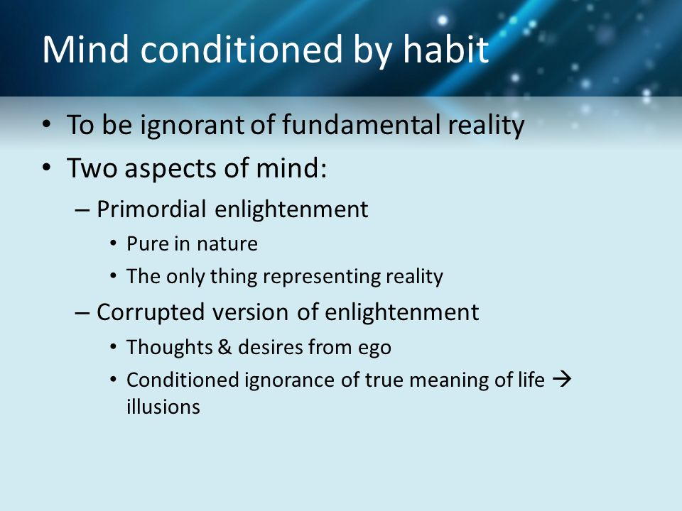 Mind conditioned by habit To be ignorant of fundamental reality Two aspects of mind: – Primordial enlightenment Pure in nature The only thing representing reality – Corrupted version of enlightenment Thoughts & desires from ego Conditioned ignorance of true meaning of life  illusions