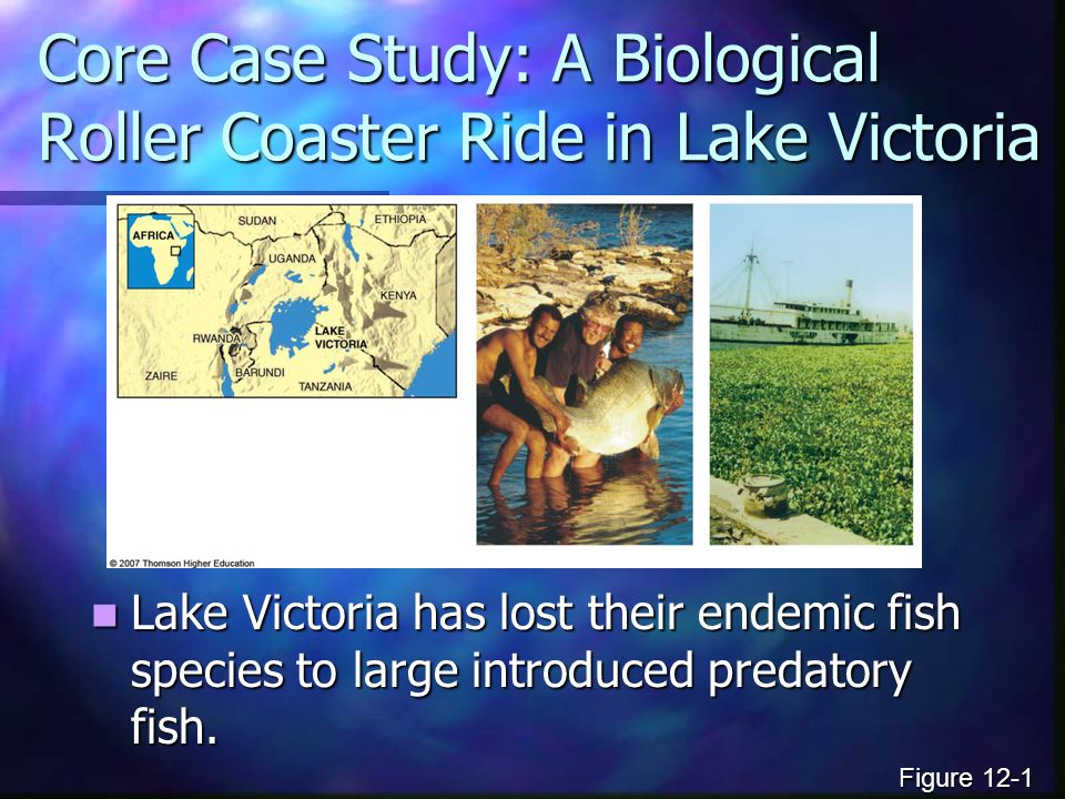Core Case Study: A Biological Roller Coaster Ride in Lake Victoria Lake Victoria has lost their endemic fish species to large introduced predatory fish.