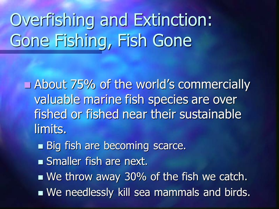 Overfishing and Extinction: Gone Fishing, Fish Gone About 75% of the world's commercially valuable marine fish species are over fished or fished near their sustainable limits.