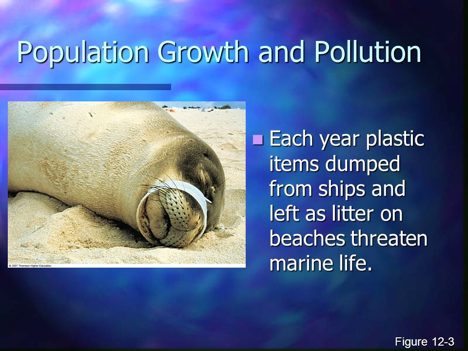 Population Growth and Pollution Each year plastic items dumped from ships and left as litter on beaches threaten marine life.