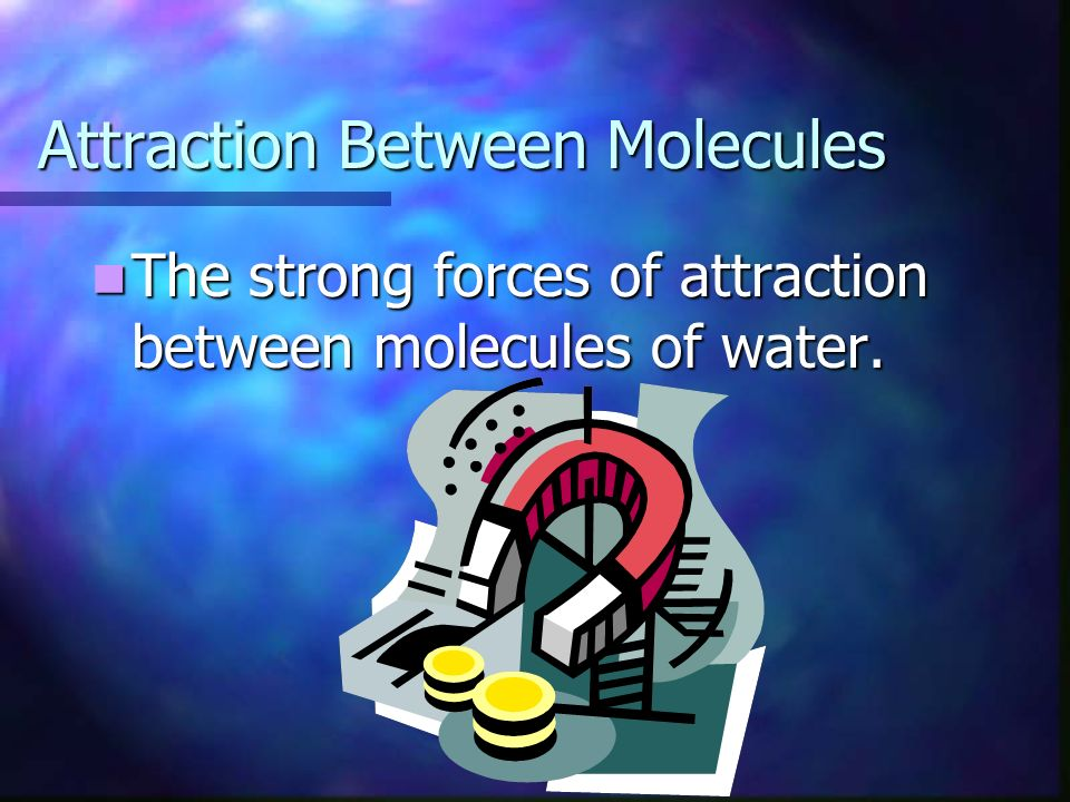 Attraction Between Molecules The strong forces of attraction between molecules of water.