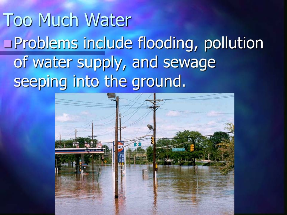 Too Much Water Problems include flooding, pollution of water supply, and sewage seeping into the ground.
