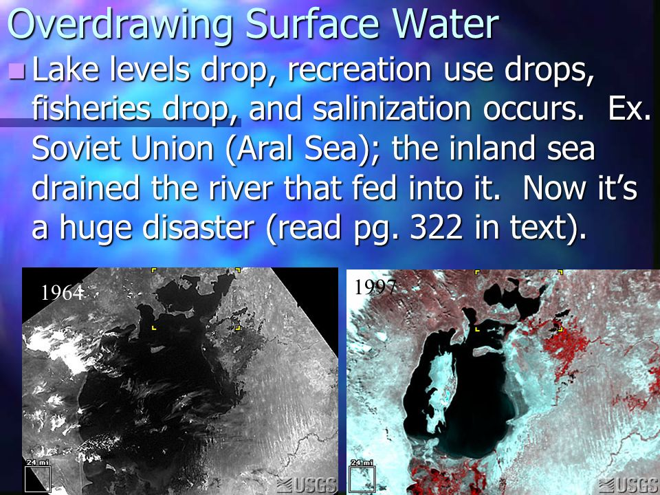 Overdrawing Surface Water Lake levels drop, recreation use drops, fisheries drop, and salinization occurs.