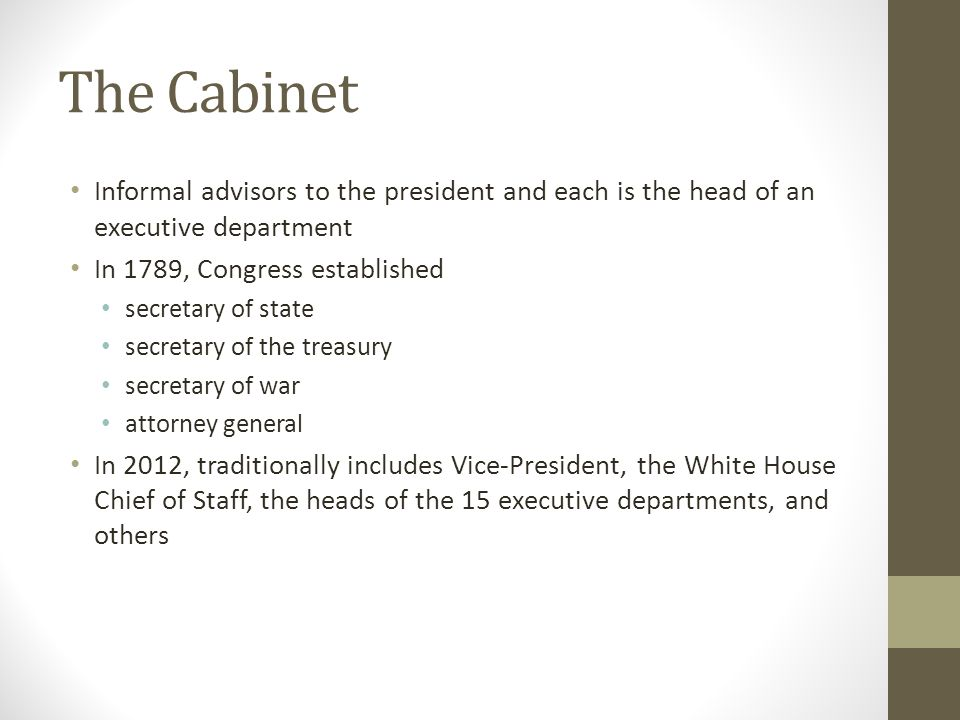 Executive Branch The Cabinet and Executive Agencies. - ppt download