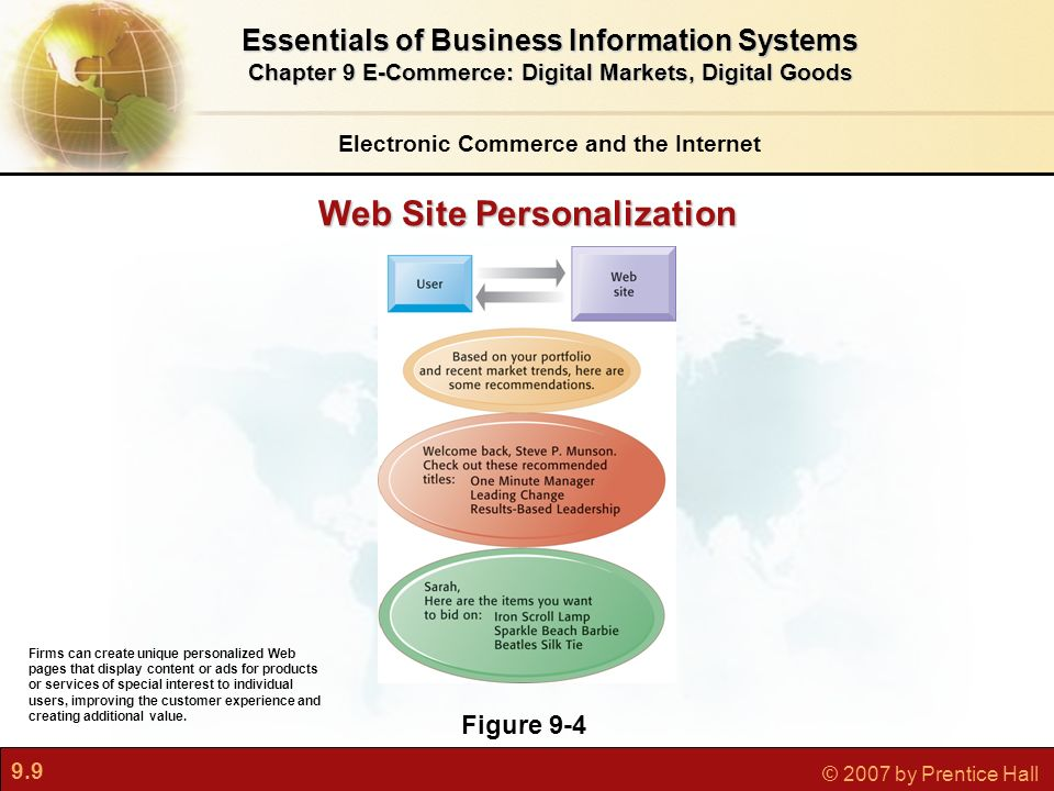 9.9 © 2007 by Prentice Hall Electronic Commerce and the Internet Essentials of Business Information Systems Chapter 9 E-Commerce: Digital Markets, Digital Goods Figure 9-4 Firms can create unique personalized Web pages that display content or ads for products or services of special interest to individual users, improving the customer experience and creating additional value.