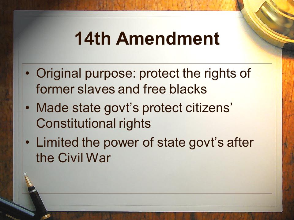 14th admendment essays The written purpose of the fourteenth amendment was to guarantee repayment of the national war debt and it prohibited repayment of the confederate debt the amendment gave congress the right to reduce the representation of any state that does not have impartial male suffrage the effect of this was.