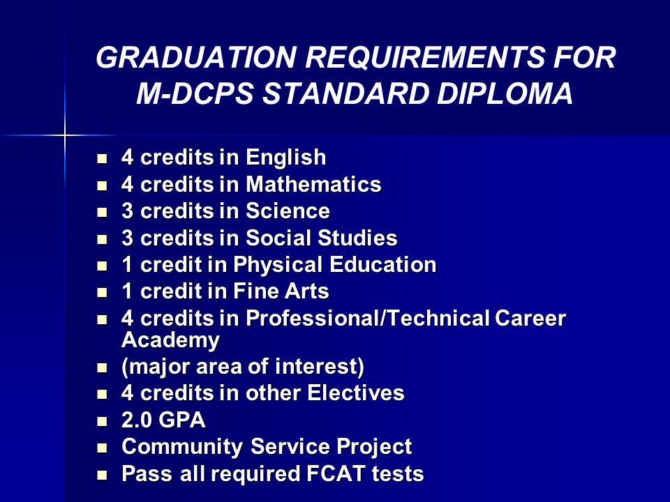 differentiated high school diplomas plan standard credit  3 graduation requirements
