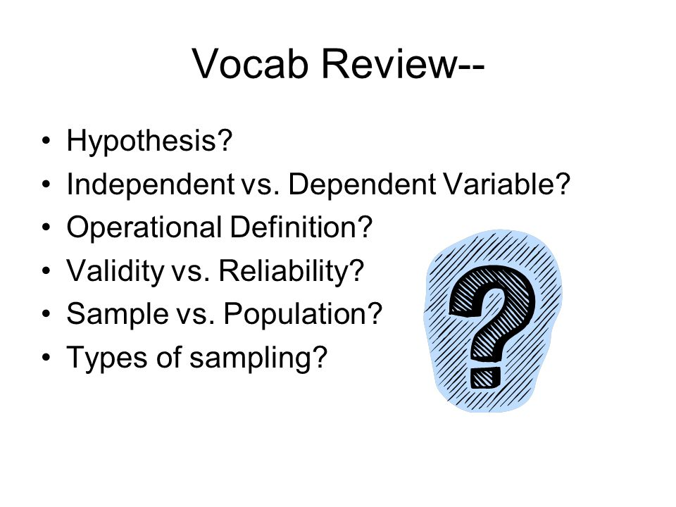 Research and Methodology. Vocab Review-- Hypothesis? Independent ...
