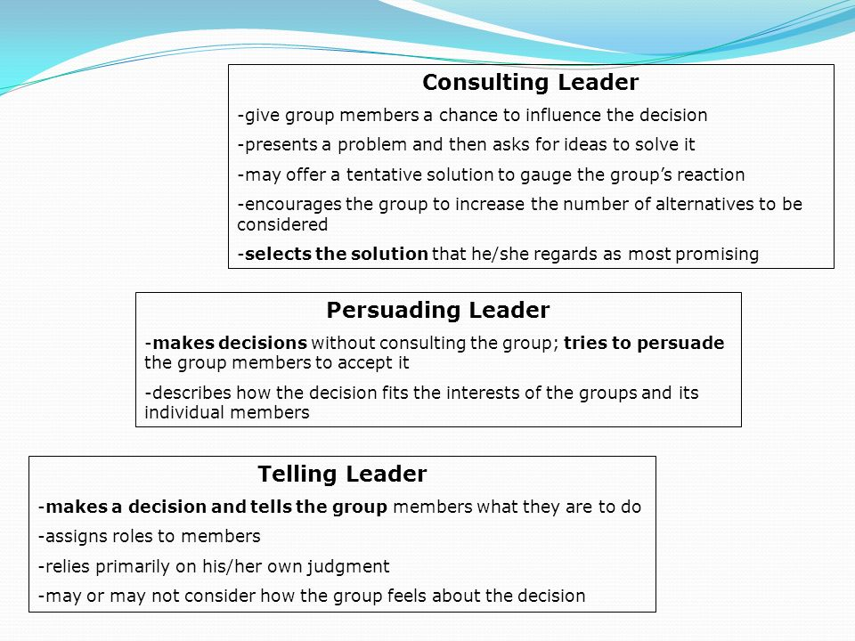 Consulting Leader -give group members a chance to influence the decision -presents a problem and then asks for ideas to solve it -may offer a tentative solution to gauge the group's reaction -encourages the group to increase the number of alternatives to be considered -selects the solution that he/she regards as most promising Persuading Leader -makes decisions without consulting the group; tries to persuade the group members to accept it -describes how the decision fits the interests of the groups and its individual members Telling Leader -makes a decision and tells the group members what they are to do -assigns roles to members -relies primarily on his/her own judgment -may or may not consider how the group feels about the decision