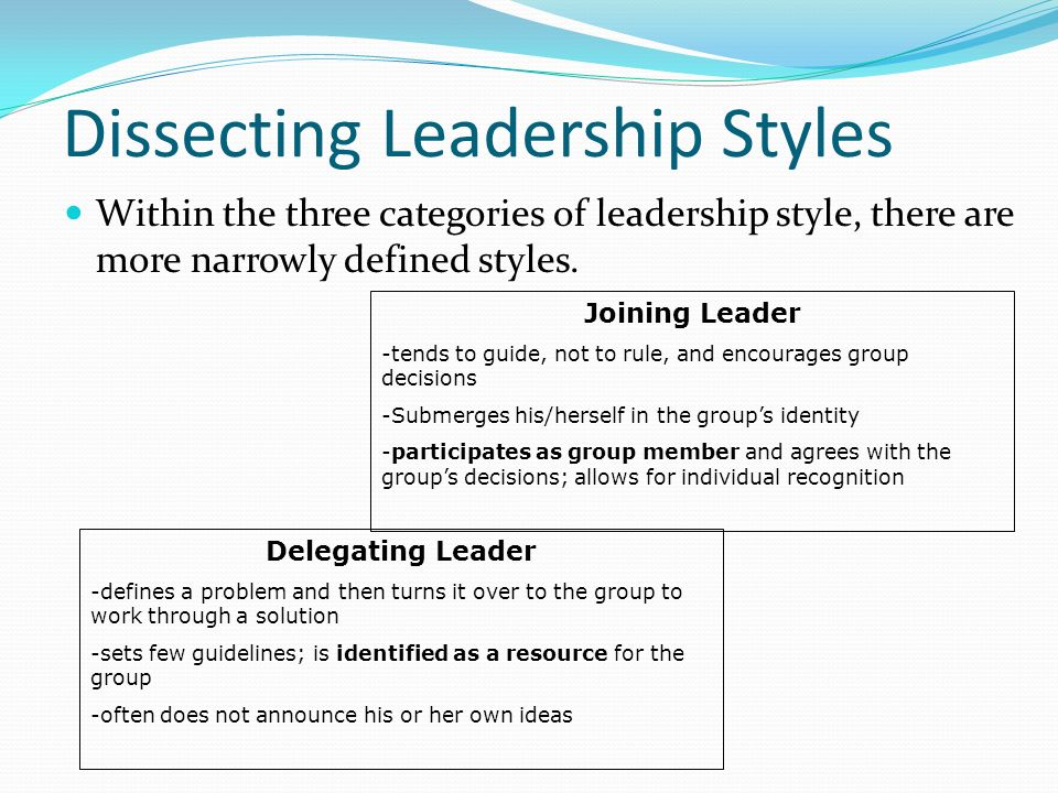 Dissecting Leadership Styles Within the three categories of leadership style, there are more narrowly defined styles.