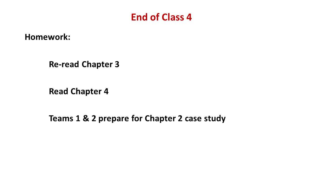 End of Class 4 Homework: Re-read Chapter 3 Read Chapter 4 Teams 1 & 2 prepare for Chapter 2 case study