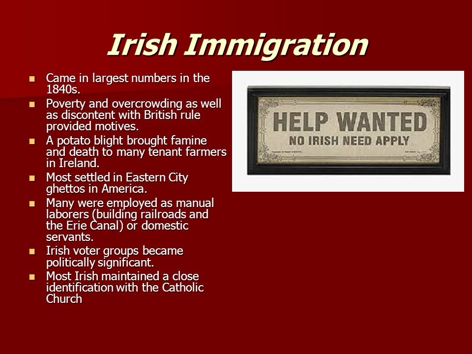 Irish Immigration Came in largest numbers in the 1840s.