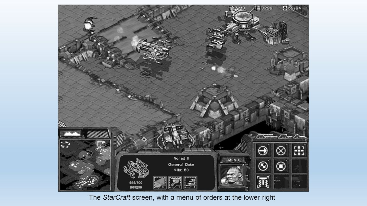 The StarCraft screen, with a menu of orders at the lower right