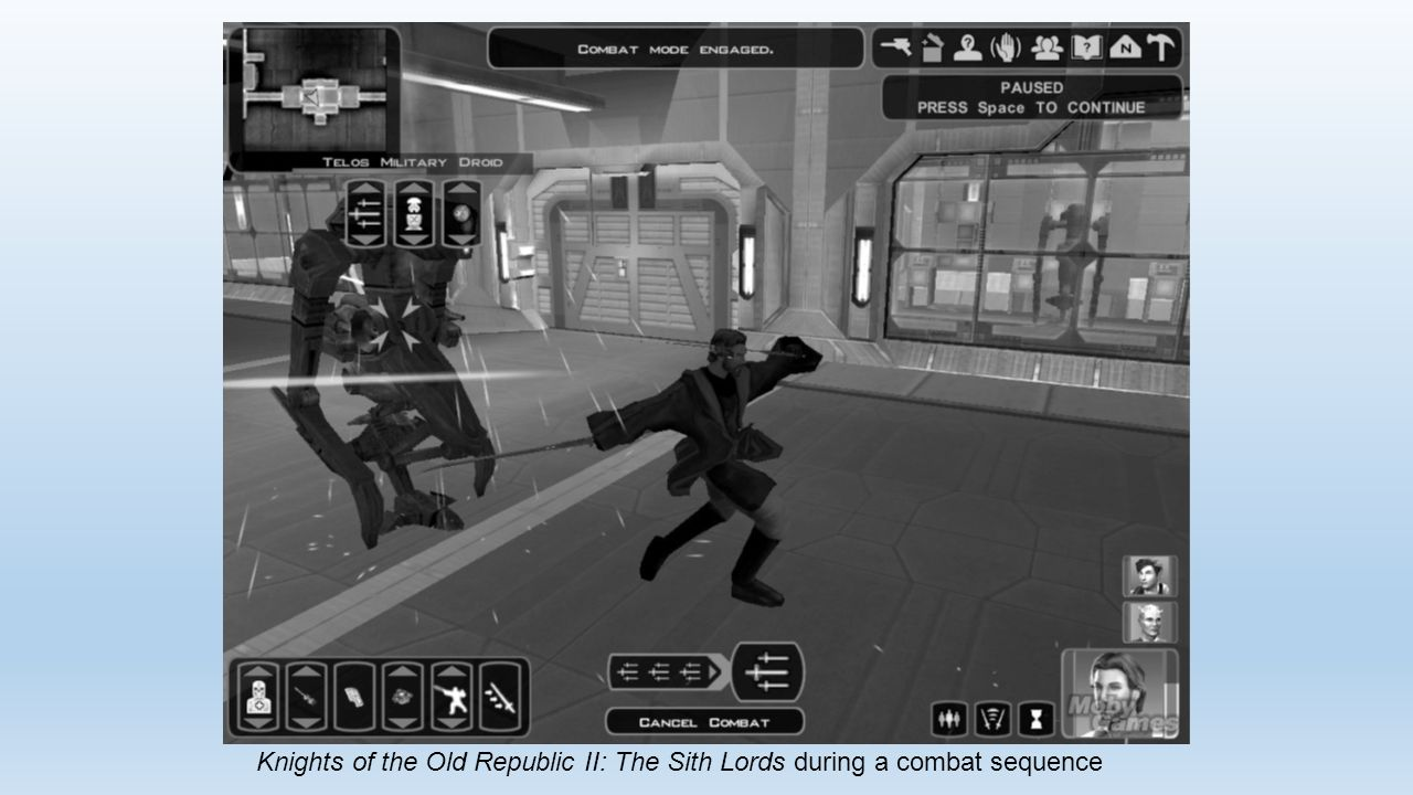 Knights of the Old Republic II: The Sith Lords during a combat sequence