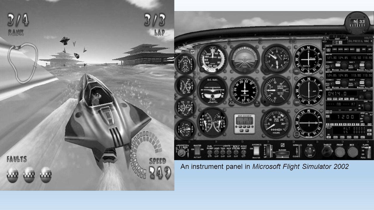 An instrument panel in Microsoft Flight Simulator 2002
