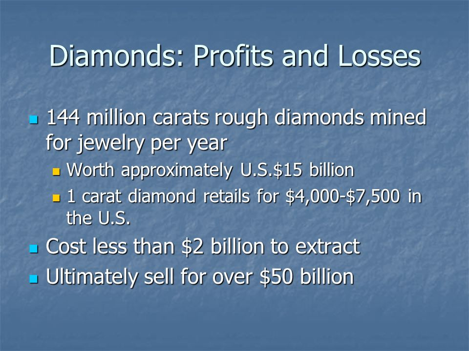 Diamonds: Profits and Losses 144 million carats rough diamonds mined for jewelry per year 144 million carats rough diamonds mined for jewelry per year Worth approximately U.S.$15 billion Worth approximately U.S.$15 billion 1 carat diamond retails for $4,000-$7,500 in the U.S.