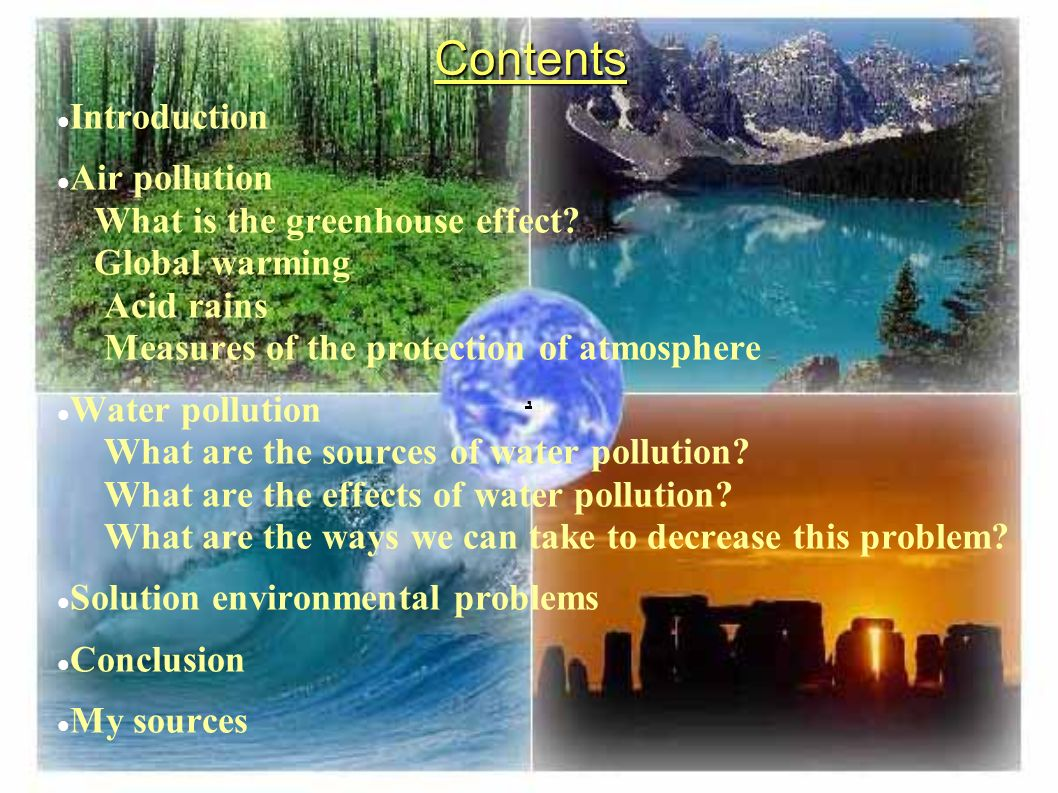 ecological problems air pollution water pollution ppt contents introduction air pollution what is the greenhouse effect