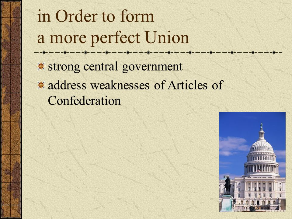 in Order to form a more perfect Union strong central government address weaknesses of Articles of Confederation