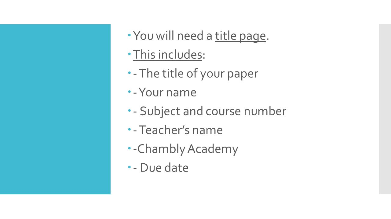 how to write a research paper the different parts of a research you will need a title page