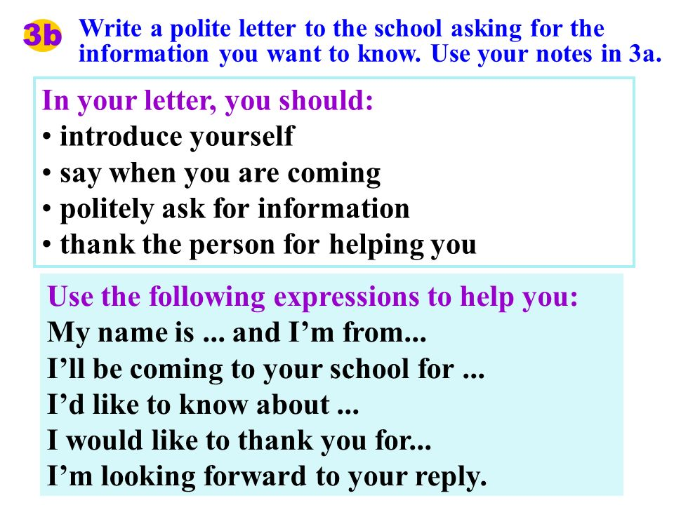3b Write a polite letter to the school asking for the information you want to know.