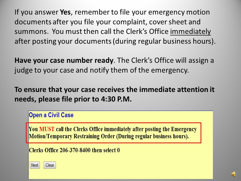 This screen asks if you are filing a Temporary Restraining Order, Motion for Vessel Arrest, or any other emergency motion.