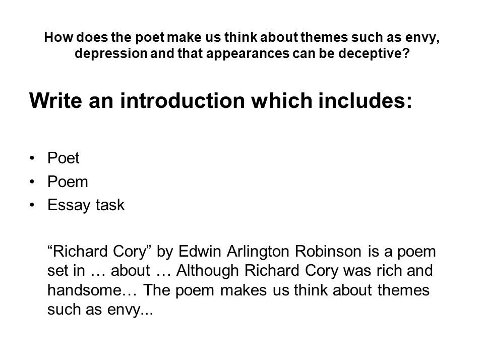 richard cory analysis response essay Poetry assignment richard coryrichard cory is a poem written by edwin robinson  may 09, 2018, from .
