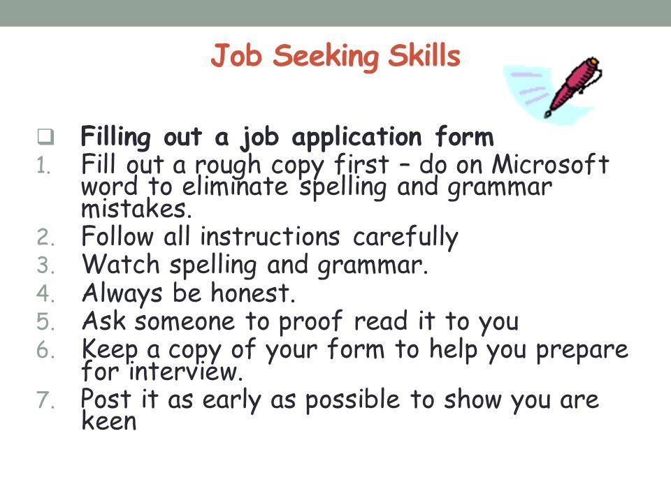 JOB SEEKING SKILLS. Job Seeking Skills Procedures for employing ...