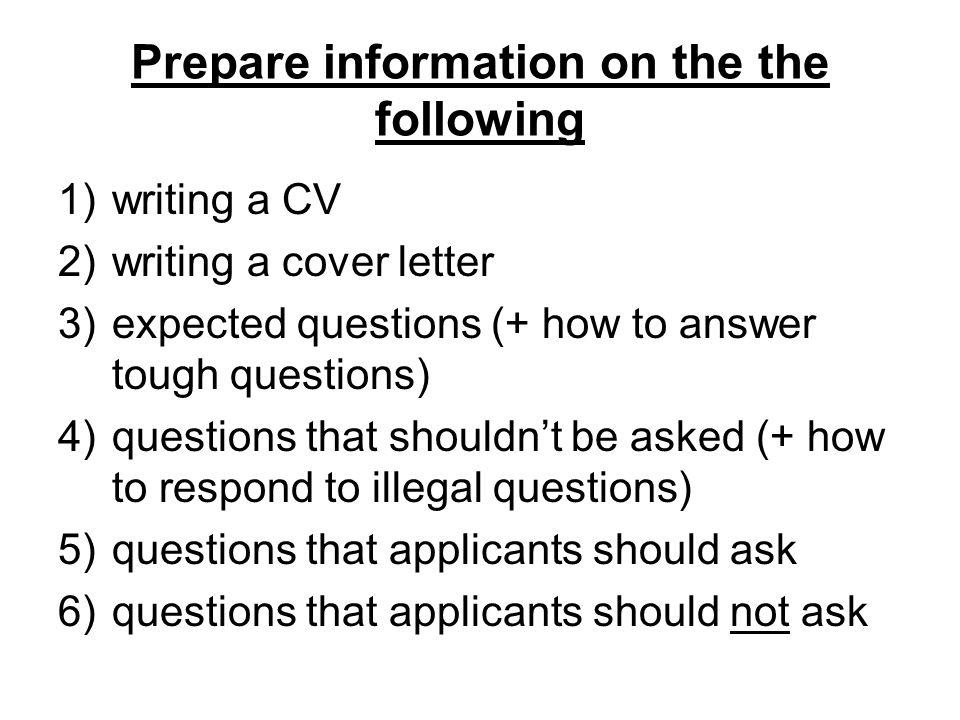 3 prepare information