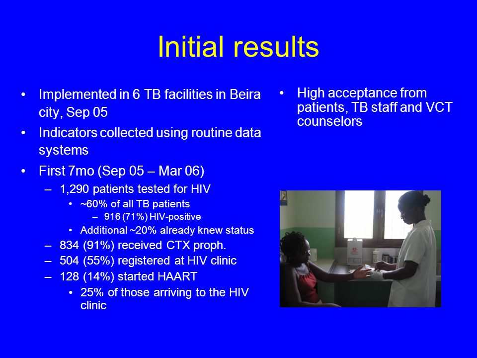 Initial results Implemented in 6 TB facilities in Beira city, Sep 05 Indicators collected using routine data systems First 7mo (Sep 05 – Mar 06) –1,290 patients tested for HIV ~60% of all TB patients –916 (71%) HIV-positive Additional ~20% already knew status –834 (91%) received CTX proph.