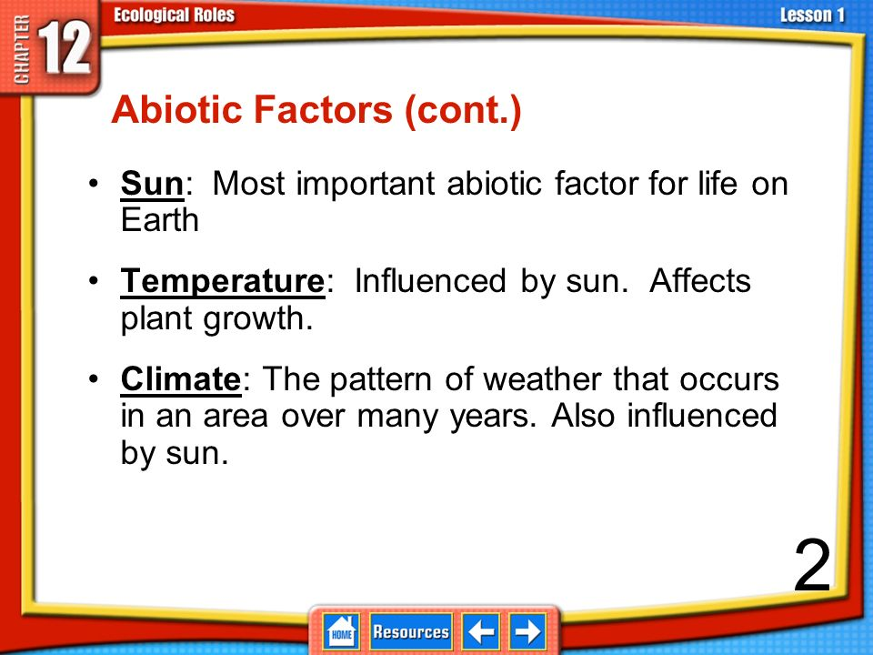 why abiotic factors are important Abiotic components are the nonliving components of the biosphere chemical and geological factors, such as rocks and minerals, and physical factors.