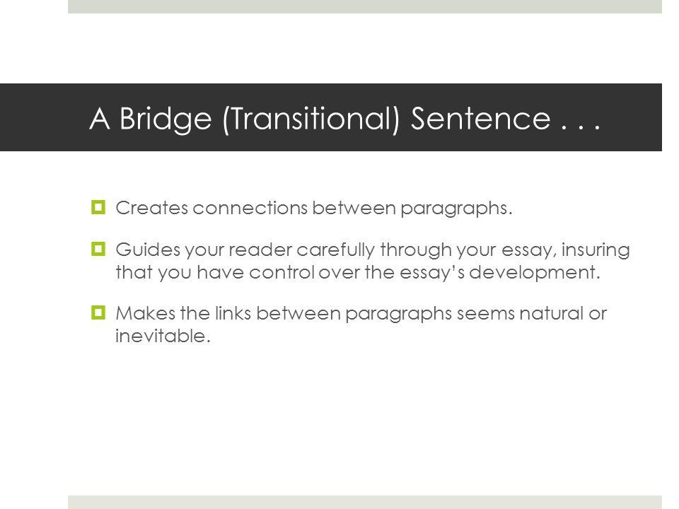 Transition Sentences for Essays?