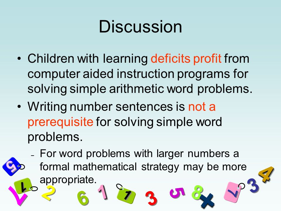 5 5 7 7 2 2 3 3 8 8 7 7 6 6 5 5 3 3 11 + 44 1 1 1 1 Discussion Children with learning deficits profit from computer aided instruction programs for solving simple arithmetic word problems.
