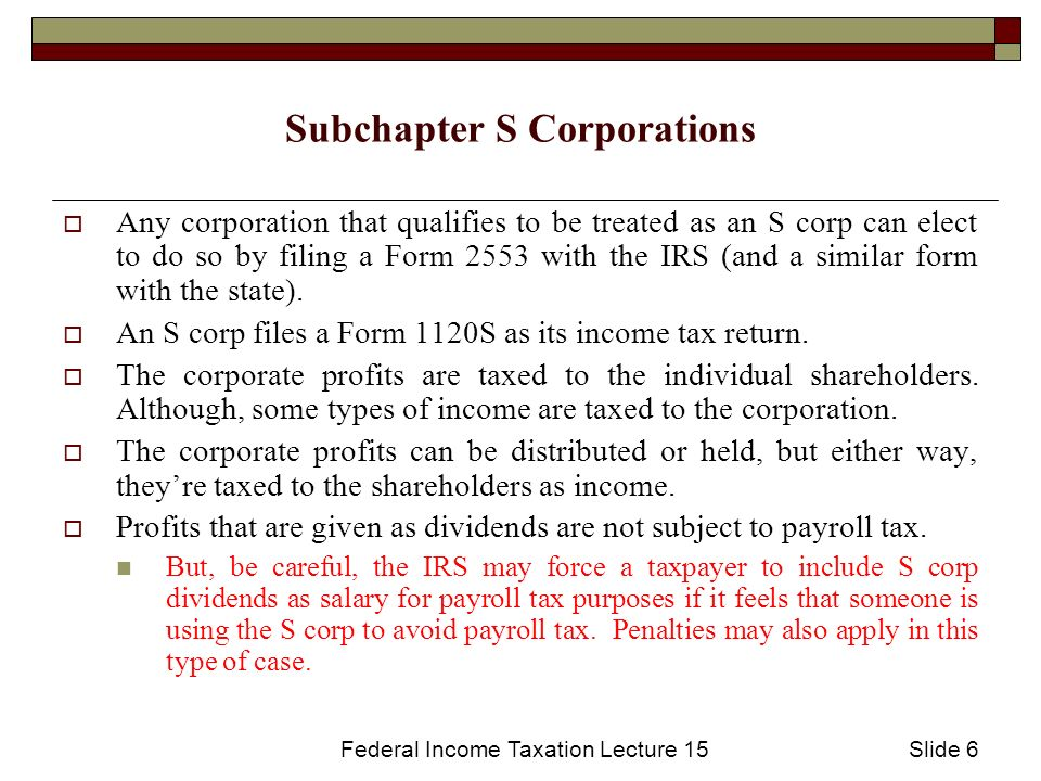 Federal Income Taxation Lecture 15slide 1 Corporate Dividend Tax