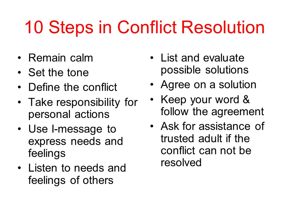 personal conflict and resolution Interpersonal conflict is a fact of life and can arise in almost any sphere, from organisations through to personal relationships learning to resolve it effectively, in a way that does not increase your stress levels, is therefore important for everyone the first step to conflict resolution is to.