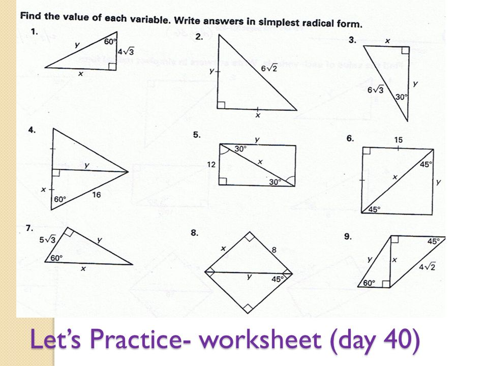 Printables 30-60-90 Triangle Worksheet 30 60 90 triangle worksheets syndeomedia obj swbat identify special right triangles and g 8 2 bucket a