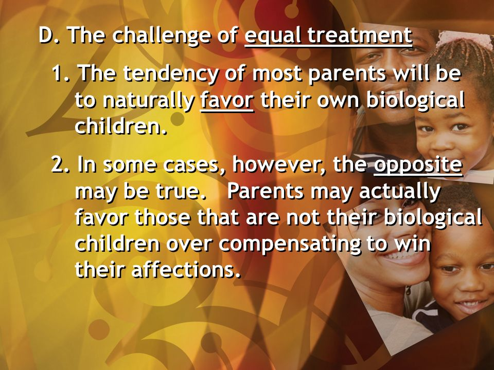 D. The challenge of equal treatment 1.