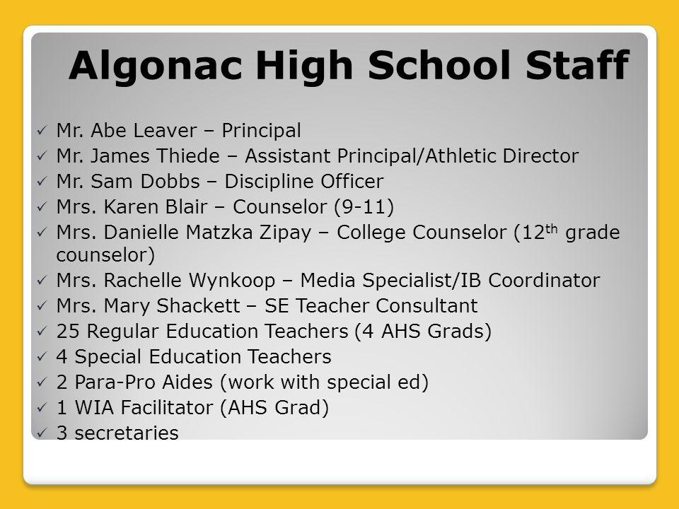 Algonac High School Staff Mr. Abe Leaver – Principal Mr.