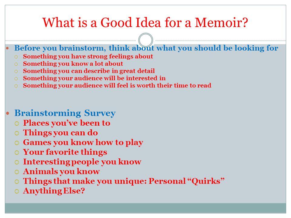 What is a good memoir?