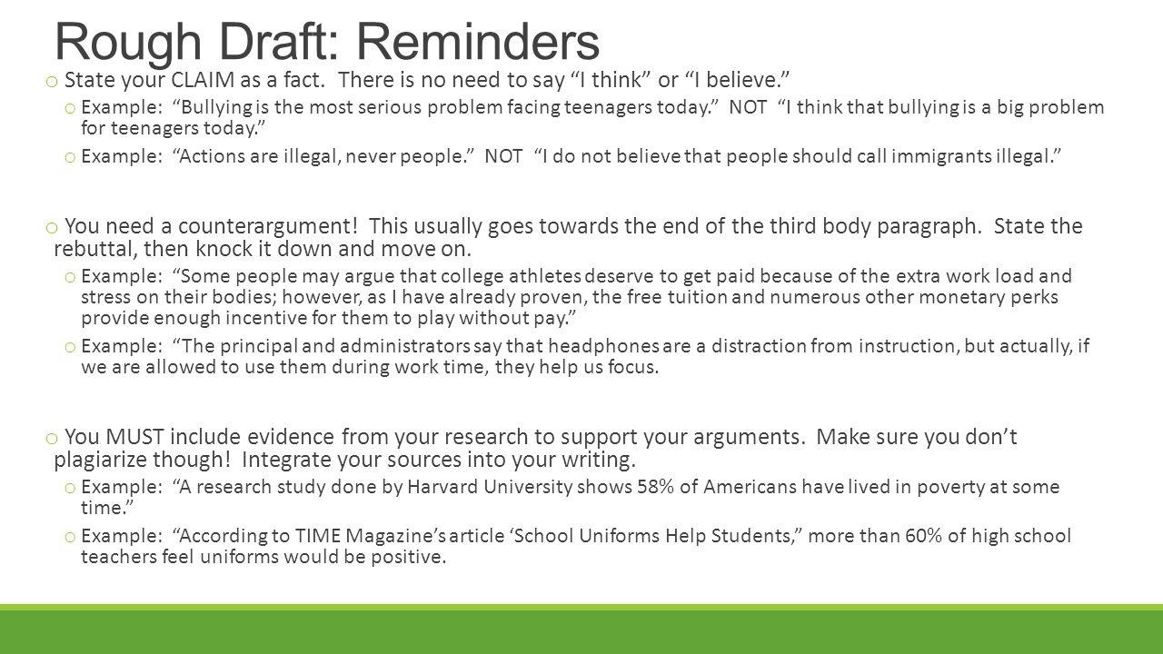 bullying essay rough draft