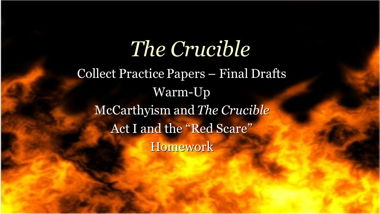 crucible paper Arthur miller chose a powerful and deep title for his play the crucible not only does it have many obvious meanings in which stem from the word crucible, but underlying ones as well these meanings relate to significant points in the play, making the title the crucible a very symbolic and.