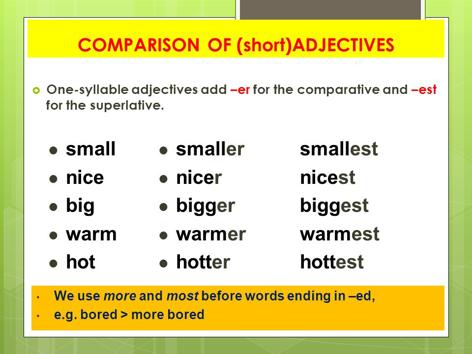 comparative and one syllable adverbs Comparison of adverbs in english we use -er/-est with the following adverbs: 11 all adverbs with one syllable positive comparative comparative superlative.