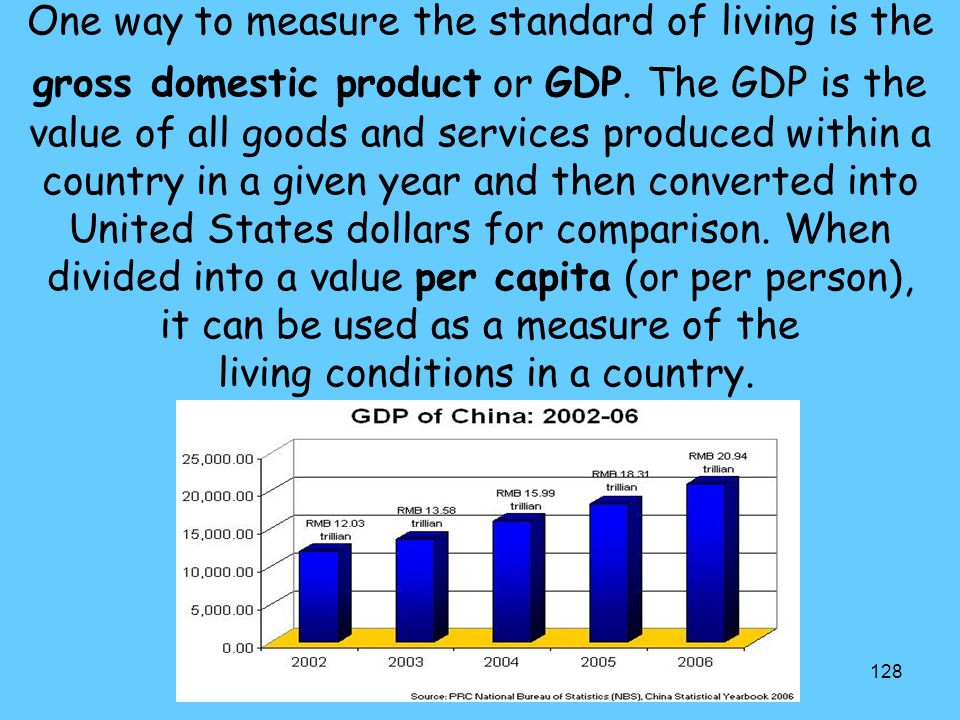 128 One way to measure the standard of living is the gross domestic product or GDP.