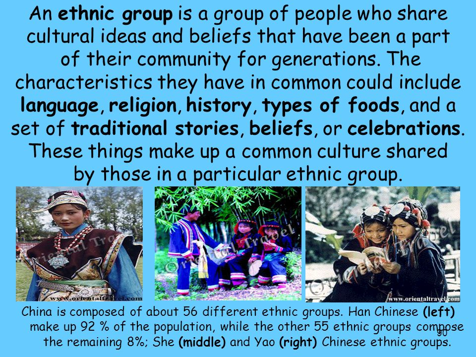 90 An ethnic group is a group of people who share cultural ideas and beliefs that have been a part of their community for generations.