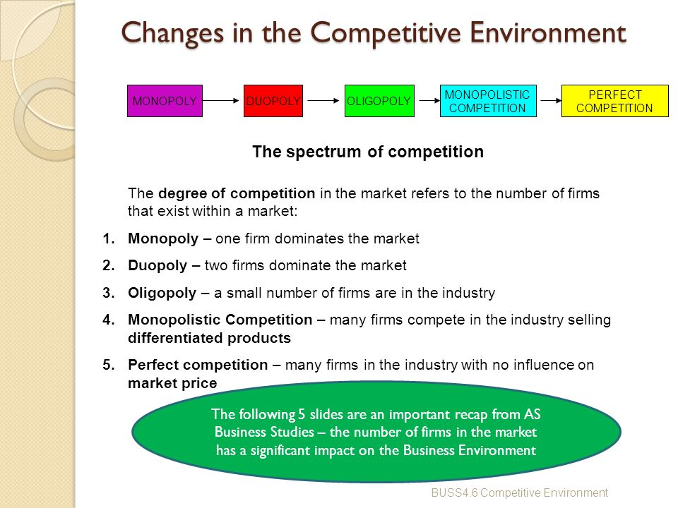 the competitive environment of the business industry The competitive environment, also known as the market structure, is the dynamic system in which your business competes the state of the system as a whole limits the flexibility of your business.